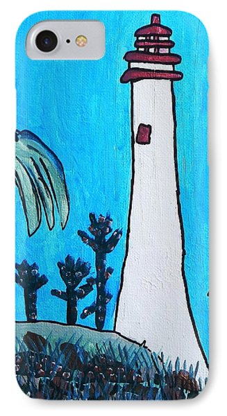 IPhone Case featuring the painting Coastal Lighthouse by Artists With Autism Inc