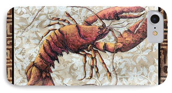 Coastal Lobster Decorative Painting Greek Border Design By Madart Studios Phone Case by Megan Duncanson