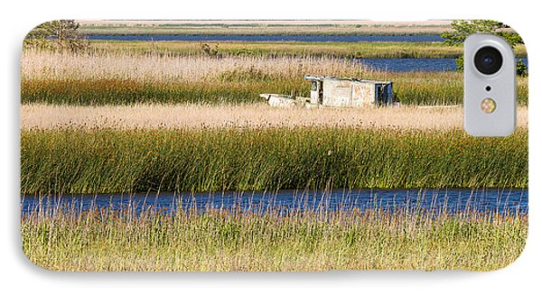 Coastal Marshlands With Old Fishing Boat Phone Case by Bill Swindaman