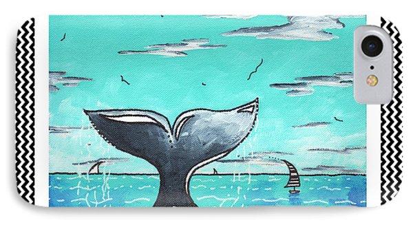 Coastal Nautical Decorative Art Original Painting Whale Tail Chevron Pattern Sea Farer By Madart Phone Case by Megan Duncanson