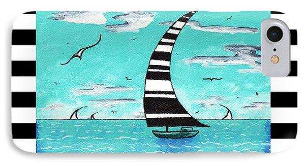 Coastal Nautical Decorative Art Original Painting With Stripes Refreshing By Madart Phone Case by Megan Duncanson