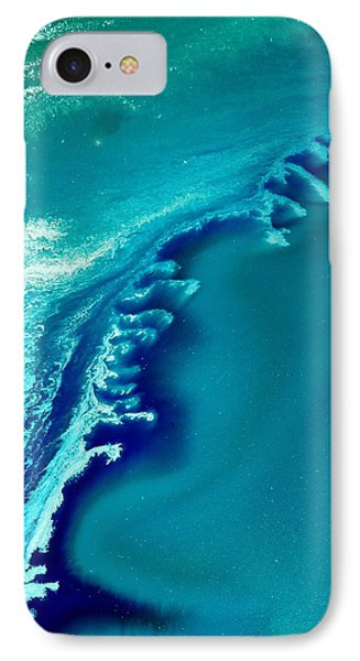 Coastal Surf Blue Abstract Waves By Kredart Phone Case by Serg Wiaderny