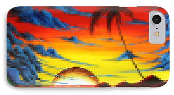 Coastal Tropical Abstract Colorful Pixel Art Digital Painting Compilation Tropical Bliss By Madart Phone Case by Megan Duncanson