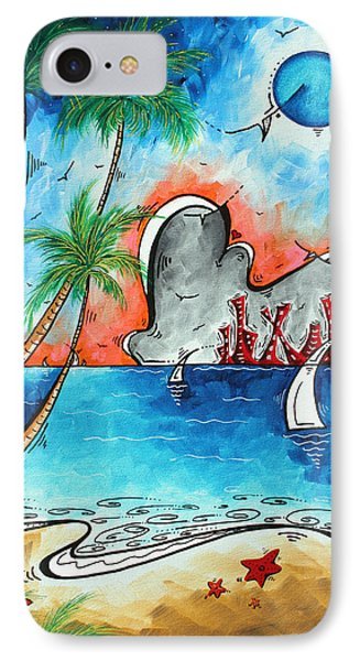 Coastal Tropical Beach Art Contemporary Painting Whimsical Design Tropical Vacation By Madart Phone Case by Megan Duncanson