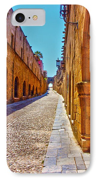 Rhodes Cobbled Street IPhone Case by Scott Carruthers