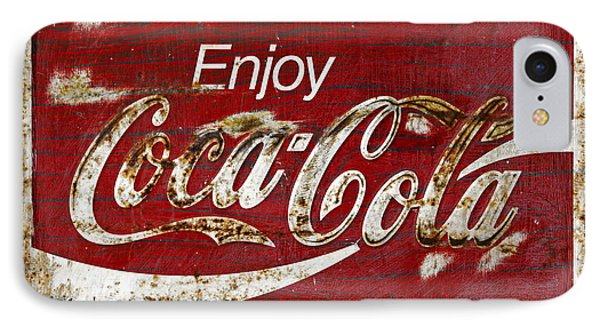 Coca Cola Red Grunge Sign Phone Case by John Stephens
