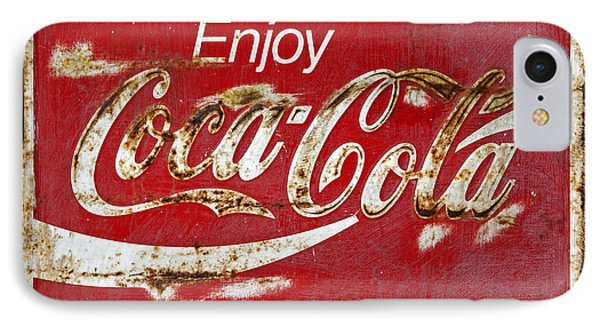 Coca Cola Vintage Rusty Sign Phone Case by John Stephens