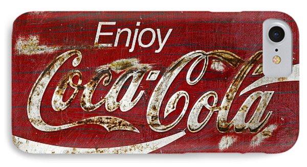 Coca Cola Wood Grunge Sign Phone Case by John Stephens