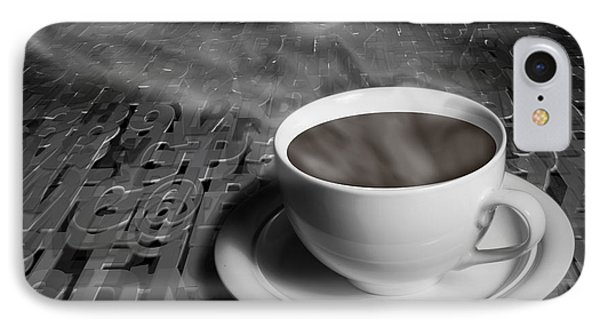 Coffe Cup And Saucer With Alphabet Lettering Phone Case by Randall Nyhof