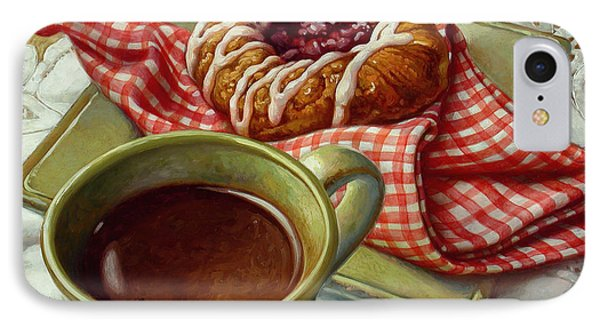 IPhone Case featuring the painting Coffee And Danish by Mia Tavonatti