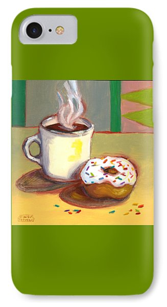 IPhone Case featuring the painting Coffee And Donut by Susan Thomas