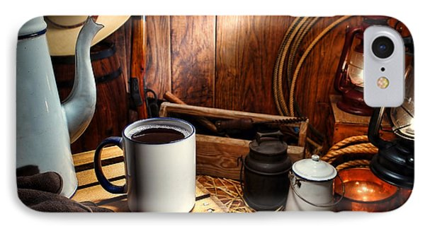 Coffee Break At The Chuck Wagon Phone Case by Olivier Le Queinec
