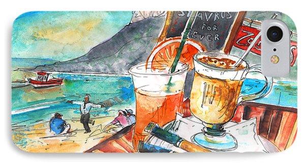 Coffee Break In Stavros In Crete Phone Case by Miki De Goodaboom