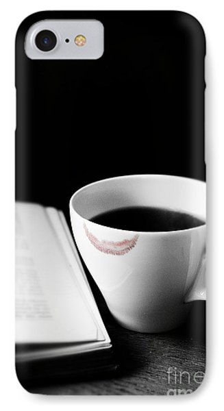 Coffee Cup With Lipstick Mark And Book IPhone Case by Birgit Tyrrell
