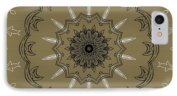 Coffee Flowers 3 Olive Ornate Medallion Phone Case by Angelina Vick