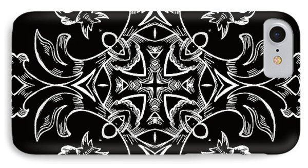 Coffee Flowers 7 Bw Ornate Medallion Phone Case by Angelina Vick