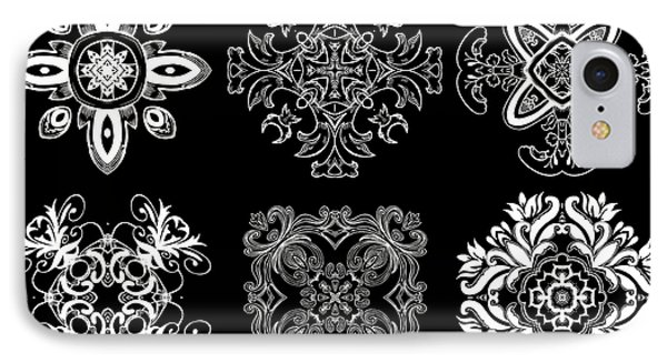 Coffee Flowers Ornate Medallions Bw 6 Peice Collage Phone Case by Angelina Vick