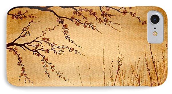 Coffee Painting Cherry Blossoms Phone Case by Georgeta  Blanaru