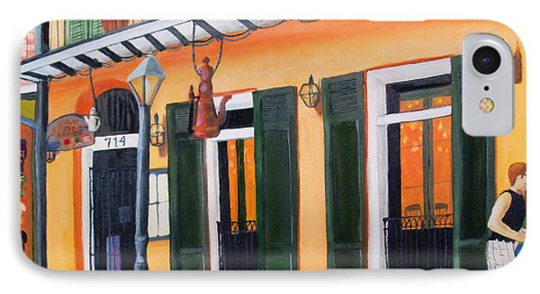 IPhone Case featuring the painting Coffee Pot Restaurant-french Quarter by June Holwell