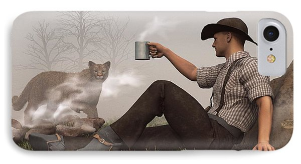 Coffee With A Cougar Phone Case by Daniel Eskridge