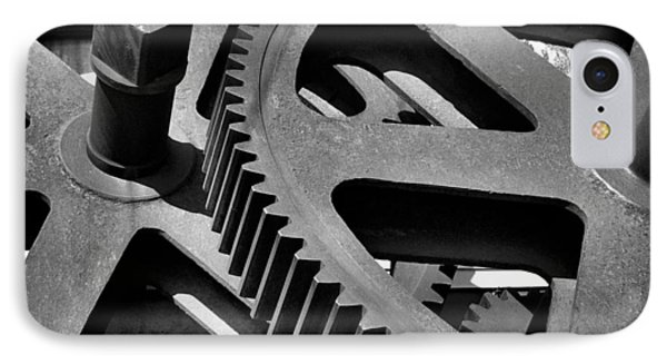 Cogwheels In Black And White IPhone Case by Nadalyn Larsen