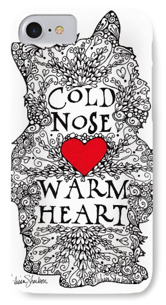 IPhone Case featuring the drawing Cold Nose Warm Heart by Melissa Sherbon