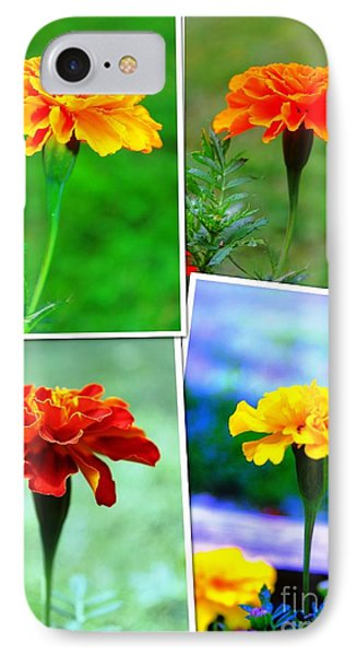 Collage Of Marigolds Phone Case by Judy Palkimas