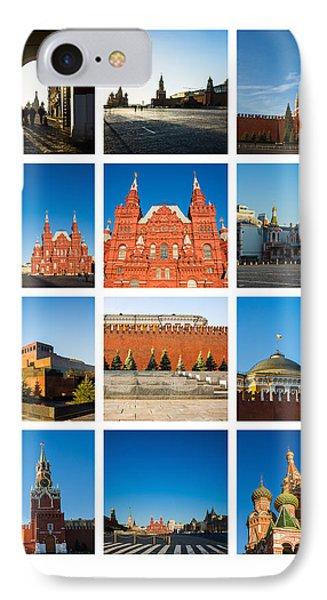 Collage - Red Square In The Morning Phone Case by Alexander Senin