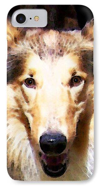 Collie Dog Art - Sunshine Phone Case by Sharon Cummings