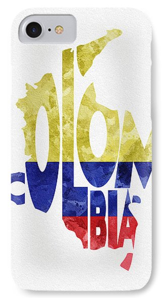 Colombia Typographic Map Flag IPhone Case by Ayse Deniz