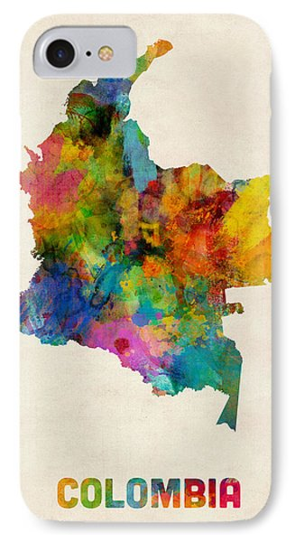 Colombia Watercolor Map IPhone Case by Michael Tompsett