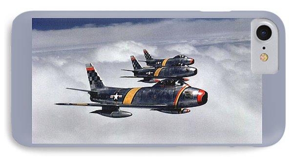 Colonel Ben O Davis Leads Flight F 86 Sabres Over Korea Medium Border Phone Case by L Brown
