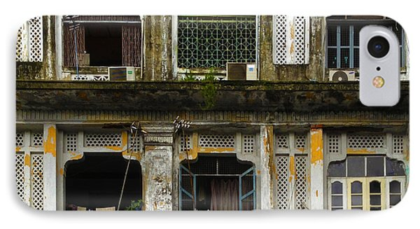 Colonial Facade Bo Soon Pat Street 8th Ward Central Yangon Burma IPhone Case by Ralph A  Ledergerber-Photography