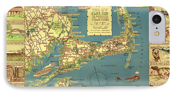 Colonial Map Of Cape Cod IPhone Case by Mountain Dreams