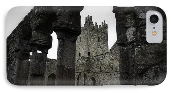 Colonnade And Tower Of Jerpoint Abbey IPhone Case by Nadalyn Larsen