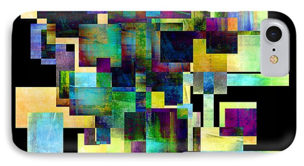 Color Block On Black One Abstract - Art Phone Case by Ann Powell