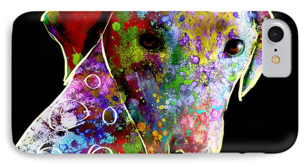 Color Splash Abstract Dog Art  Phone Case by Ann Powell