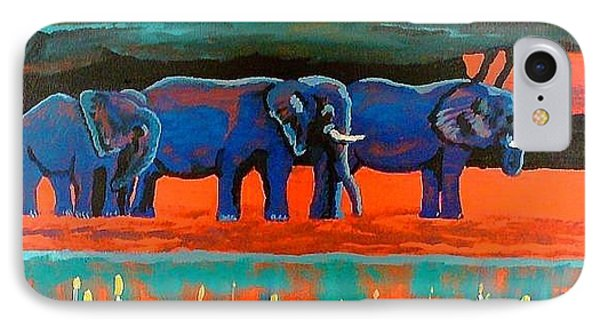 IPhone Case featuring the painting Color Study Elephants by Brenda Pressnall