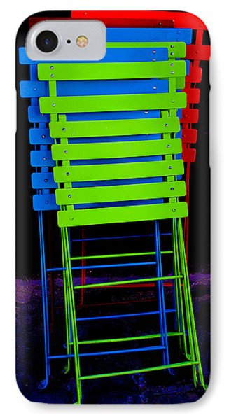 IPhone Case featuring the photograph Colorful Cafe Chairs by Dany Lison