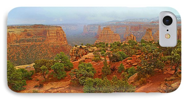 Colorado Natl Monument Snow Coming Down The Canyon IPhone Case by Roena King
