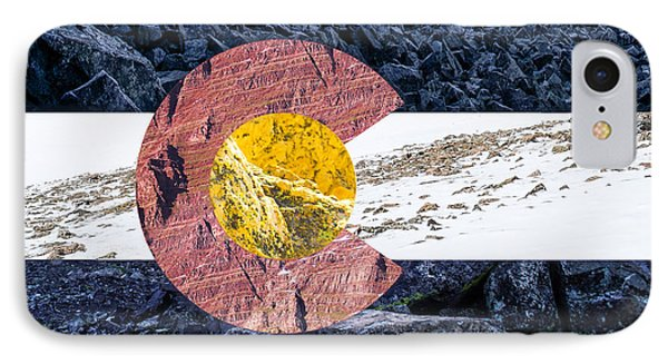 Colorado State Flag With Mountain Textures Phone Case by Aaron Spong