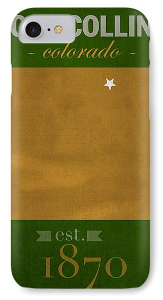 Colorado State University Rams Fort Collins College Town State Map Poster Series No 032 IPhone Case