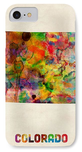Colorado Watercolor Map IPhone Case by Michael Tompsett