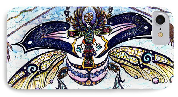 Colored Cultural Zoo B Sacred Scarab IPhone Case by Melinda Dare Benfield