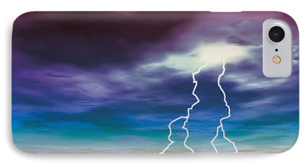 Colored Stormy Sky W Angry Lightning IPhone Case by Panoramic Images