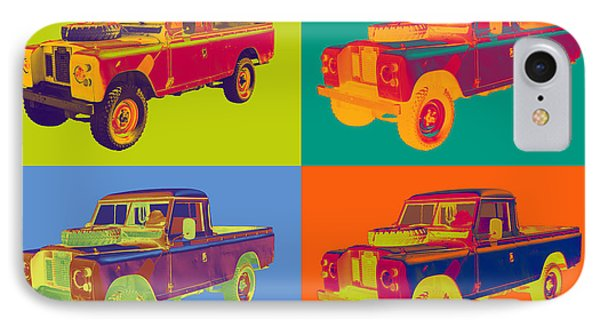 Colorful 1971 Land Rover Pick Up Truck Pop Art IPhone Case by Keith Webber Jr