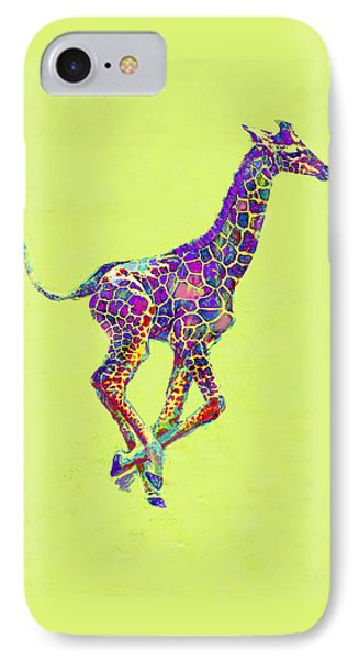 Colorful Baby Giraffe IPhone 7 Case by Jane Schnetlage