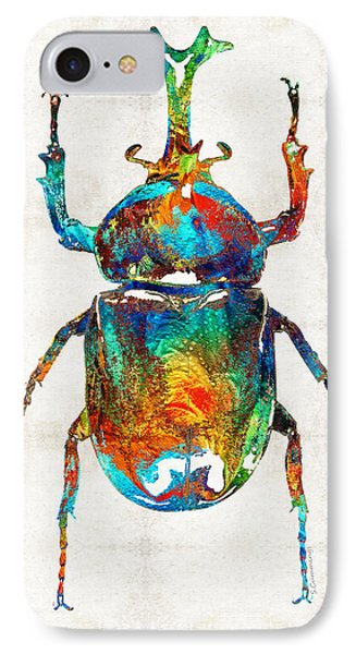 Colorful Beetle Art - Scarab Beauty - By Sharon Cummings IPhone Case by Sharon Cummings