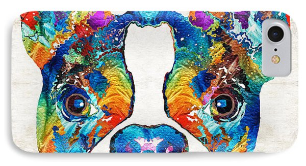 Colorful Boston Terrier Dog Pop Art - Sharon Cummings IPhone Case by Sharon Cummings