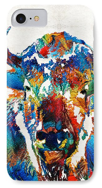 Colorful Buffalo Art - Sacred - By Sharon Cummings IPhone Case by Sharon Cummings
